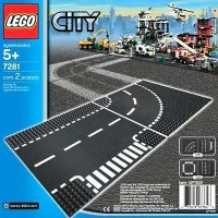 Lego City - 7281 T-Junction & Curved Road Base Plate