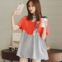 Jual b31019 baju flare blouse choker halter neck merah hitam putih stripe Murah