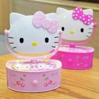 Jual Kotak perhiasan hello kitty + cermin + musik bisa muter kepala kitty Murah
