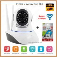 Wireless IP Camera/Baby Cam/Baby Monitor/cctv+Memory Card 64gb Sandisk