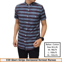 Kemeja Short Stripe Horizontal Vertical Maroon - Marun