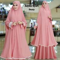Gamis Syar i Asyifa Hijab Fashion Dusty Pink Terlaris Modis Glamour