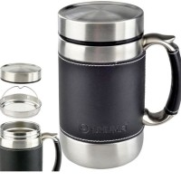 SHUMA VACUUM STAINLESS TERMOS MUG BODY & HANDLE LEATHER 6OOML VMUG600
