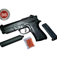 Mainan Pistol Kokang Air Soft Gun MP900 Peredam
