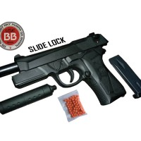 Mainan Pistol Kokang Air Soft Gun MP900 Slide Lock Peredam