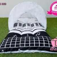 Jual Kasur Bayi Motif Musik Hitam Putih Lucu | 1 Set kelambu Lipat | Laris Murah