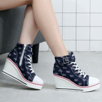 Jual Sneakers wedges boots denim Adl 1189 biru Murah