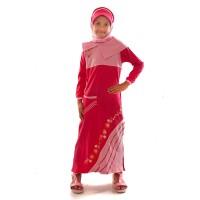 Baju Busana Muslim Gamis Anak Perempuan Cewek + Kerudung MK GA 09P