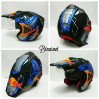 Helm Semi Cross Double Visor Trabas Klx Red Bull Black Dof Blue Biru