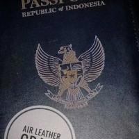 Jual Passport case / Passport cover / Passport holder leather Black edition Murah