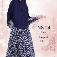 Gamis NS 24 navy, nibras hijab, munira MD 04 dongker