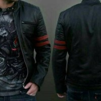 Jual Jaket kulit domba asli model hitam strip merah Murah