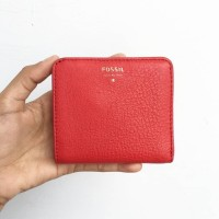 dompet fossil sydney mini bifold new with tag red leather coin wallet