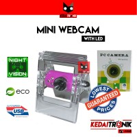 Webcam Mini Capit PC Camera Jepit Web USB+Microphone LED Color Packing
