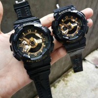 JAM TANGAN G-SHOCK & BABY-G COUPLE BLACK GOLD