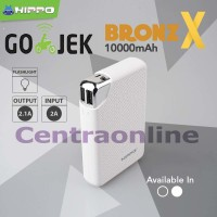 Hippo Bronz X 10000 MAH SP Simple Pack Power Bank Metal Design Bagus