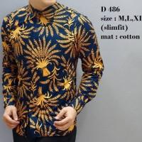 Jual Batik Slim Fit Pria - Kemeja Motif Keren D85 Murah