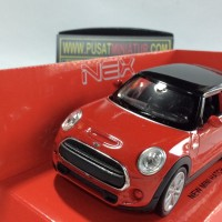 NEW MINI HATCH (MERAH) - SKALA 1:36 - WELLY (DIECAST-MINIATUR)