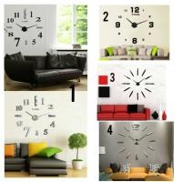 Jual DIY Giant Wall Clock / Jam Dinding Besar Alpha Number - Silver Murah