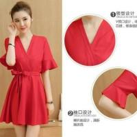 Jual dress merah casual wanita red baju cantik maxidress bodycon pesta mura Murah