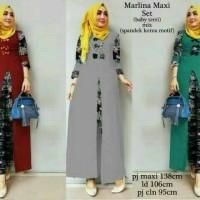 setelan baju muslim tunik slit blouse batik celana panjang xl jumbo