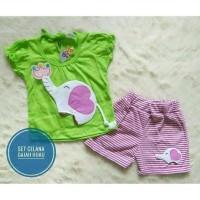 setelan bayi perempuan celana garis baju gajah