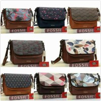 TAS Fossil peyton leather double flap crossbody bag seri
