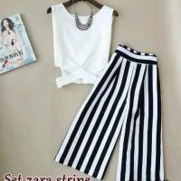 fgh setelan st zara stripe WHITE / baju wanita celana kaos atasan