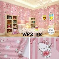 Wallpaper-Dinding 10m Stiker Dinding Motif Hello Kitty Garis Pink