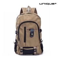 harga Unique Tas Ransel Laptop Canvas Backpack Travel Semi Army  Coklat Tokopedia.com