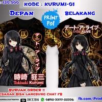 Kaos Full Print Date A Live Kurumi Tokisaki [ANIME FULLPRINT]