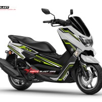 Decal Stiker Yamaha Nmax White Simple strip Green lime