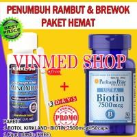 Jual Kirkland Minoxidil+Biotin 7500mcg @50caps Paket Hemat Murah