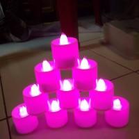 LILIN LAMPU LED WARNA UNGU BULAT CANDLE LIGHT PARTY DINNER ROMANTIS