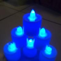 LILIN LAMPU LED WARNA BIRU BULAT CANDLE LIGHT PARTY DINNER ROMANTIS