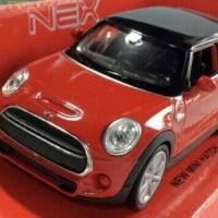 Miniatur Mobil Mini Cooper New Mini Hatch Merah - Welly Nex Skala 1:32