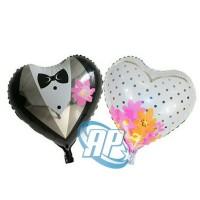 Harga balon foil wedding hati balon bride and groom balon baju   antitipu.com