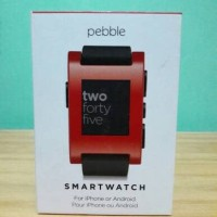Pebble Watch 301 Classic Smartwatch Jet 301WH Black Cherry Red Rubber