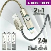 Log On Kabel Data Charger 2 in 1 Iphone 5,Samsung,Lenovo&Asus K004