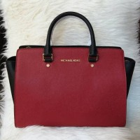 Ready Michael Kors Selma 2tone Red Black Large