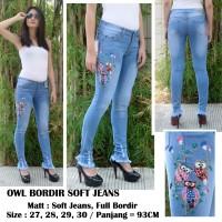 Celana Jeans wanita Jeans Bordir Owl Soft Jeans