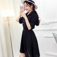 Black Midi Dress Wanita Korea Import Gratis Belt 18310
