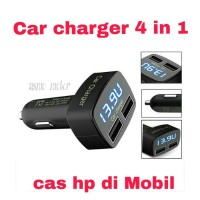 Jual CHARGER MOBIL / CAR CHARGER 4 in 1 USB LED Biru Murah