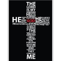 Poster Quotes Salib Tipografi Religius Kristen Alkitab A4 Dekorasi Rum