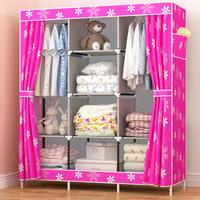 028 lemari rak pakaian jumbo lemari baju portable cloth rack PINK FLO