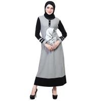 Baju Muslim Wanita - Gamis - Warna Abu-Hitam