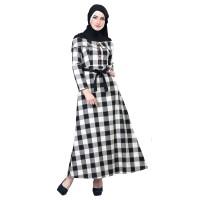 Baju Muslim Wanita - Gamis - Warna Hitam-Krem Motif Kotak