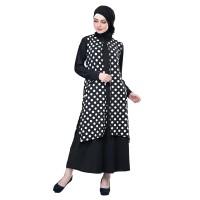 Baju Muslim Wanita - Gamis - Warna Hitam Putih