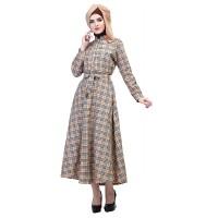 Baju Muslim Wanita - Gamis - Warna Coklat Motif Kotak
