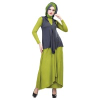 Baju Muslim Wanita - Gamis - Warna Abu-Hijau